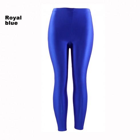 Royal Blue 80s Shiny Neon Costume Leggings Stretch Fluro Metallic Pants Gym Yoga Dance