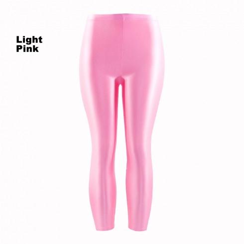 Light Pink 80s Shiny Neon Costume Leggings Stretch Fluro Metallic Pants Gym Yoga Dance