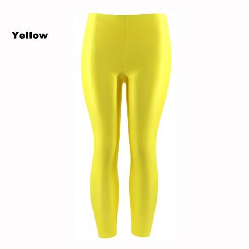 Yellow 80s Shiny Neon Costume Leggings Stretch Fluro Metallic Pants Gym Yoga Dance