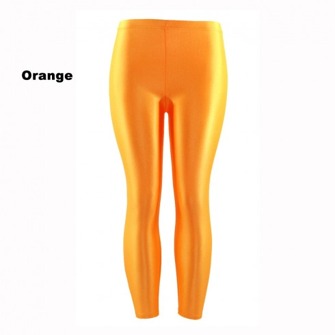 Orange 80s Shiny Neon Costume Leggings Stretch Fluro Metallic Pants Gym Yoga Dance