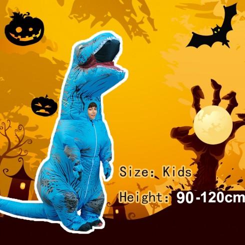 Blue Kids T-Rex Blow up Dinosaur Inflatable Costume