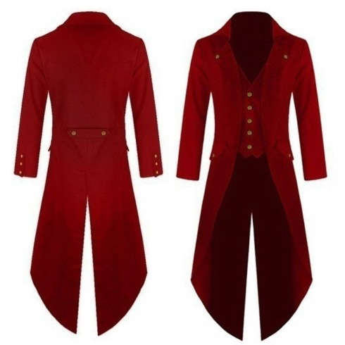 Red Mens Steampunk Coat Ringmaster Costume