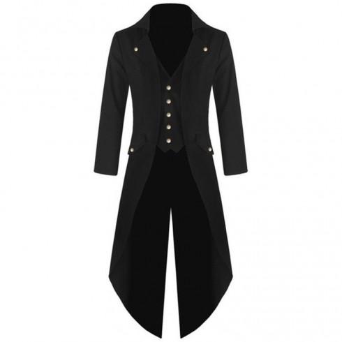 Black Mens Steampunk Coat Ringmaster Costume