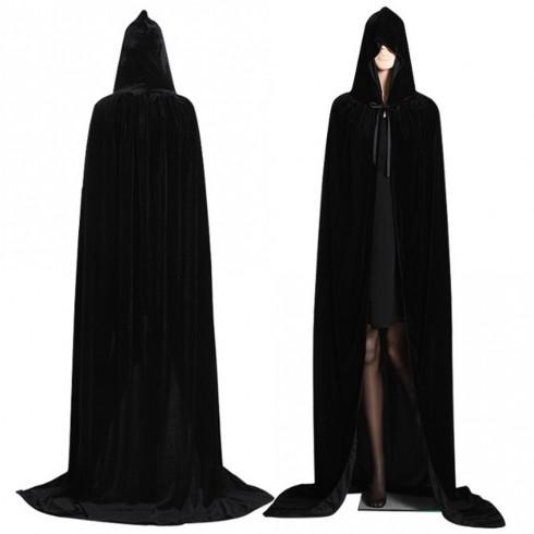 Black Adult Hooded Cloak Cape Wizard Costume