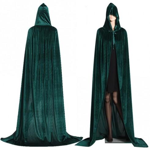 Green Adult Hooded Cloak Cape Wizard Costume