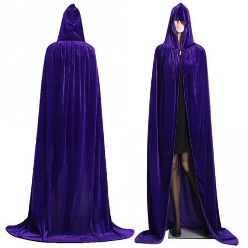 Purple Adult Hooded Cloak Cape Wizard Costume