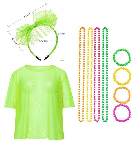 Green String Vest Mash Top Net Set