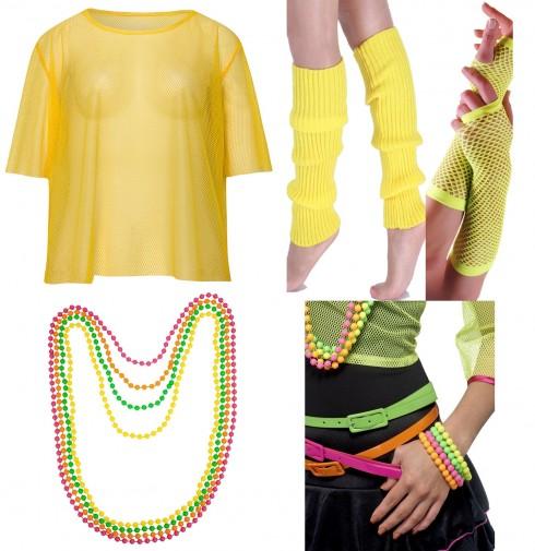 Yellow String Vest Mash Top Net Neon Punk Rocker Fishnet Rockstar 80s 1980s Costume  Beaded Necklace Bracelet legwarmers gloves