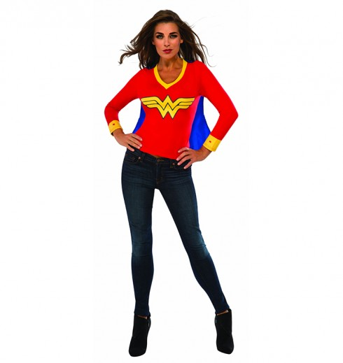 Womens Wonder Woman Tshirt Mask Ladies Super Hero Justice League Fancy Dress Costume Outfit