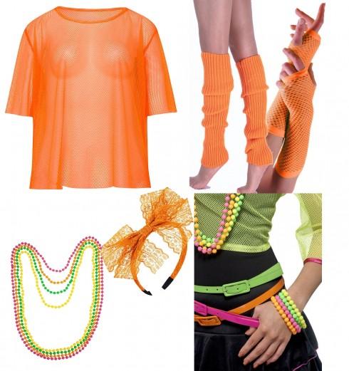 Orange String Vest Mash Top Net Set