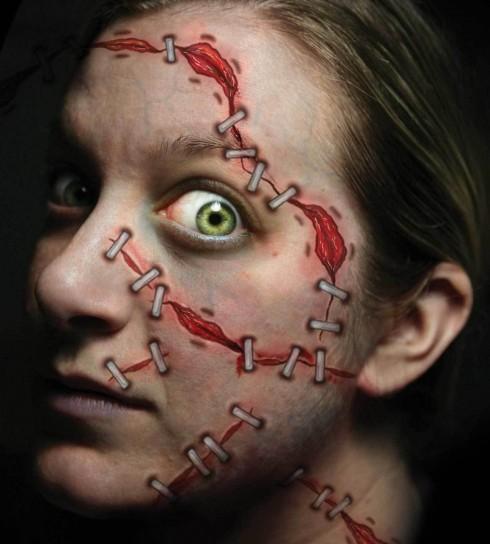 Halloween Trauma Stapled Scary Face Temporary Tattoo