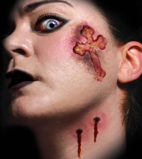 Halloween Trauma Vampire Kiss Scary Face Temporary Tattoo