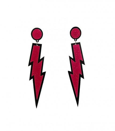 Glitter lightning EARRINGS PLASTIC ROCK star 80s COSTUME