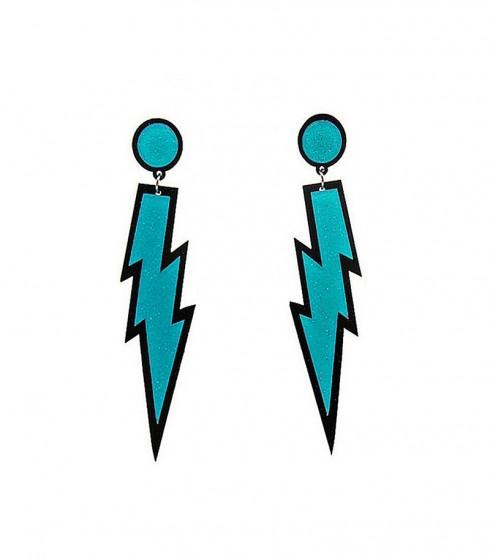 Blue Glitter Lightning Rock Star 80s Earrings tt1047-7tt1047-9