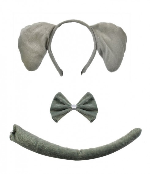 Elephant Animal Costume Headband Bow Tie Tails Set Zoo Party Performance Kids Accessories