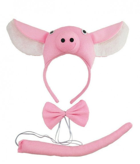 Pink Piglet Animal Costume Headband Bow Tie Tails Set Zoo Party Performance Kids Accessories