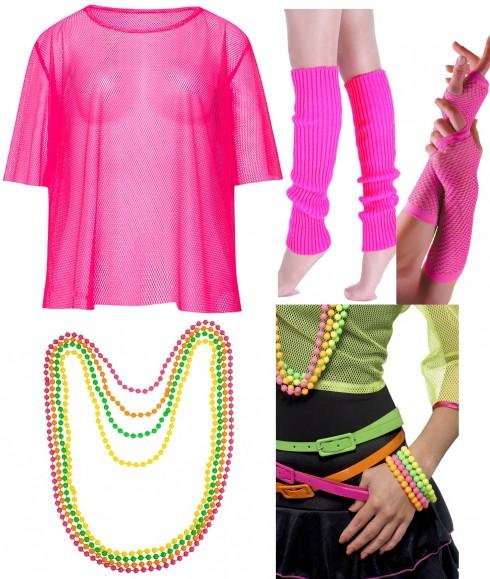 Pink Neon Fishnet Vest Top T-Shirt 1980s Costume Necklace Bracelet legwarmers gloves
