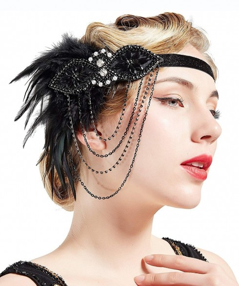 20s flapper feather headband