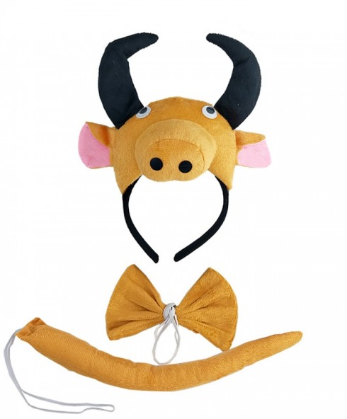 Bull Headband Bow Tail Set Kids Animal Farm Zoo Party Performance Headpiece