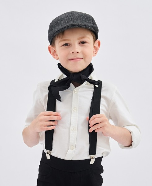 Victorian boy colonial boy costume accessory braces suspenders Black