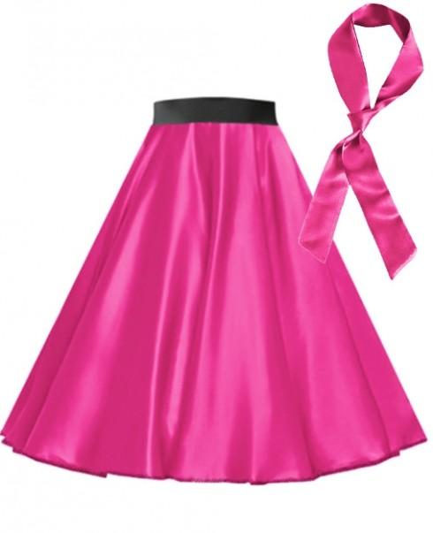 Hot Pink Satin 1950's  50s skirt