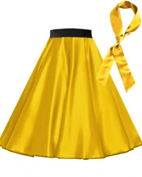 Yellow Satin 1950's 50s skirt
