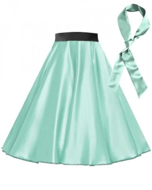 Light Blue Satin 1950's 50s skirt