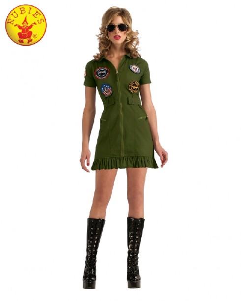 Sexy Top Gun 1980s 80s Womens Military Ladies Costume Green Dress Licensed Aviator Pilot