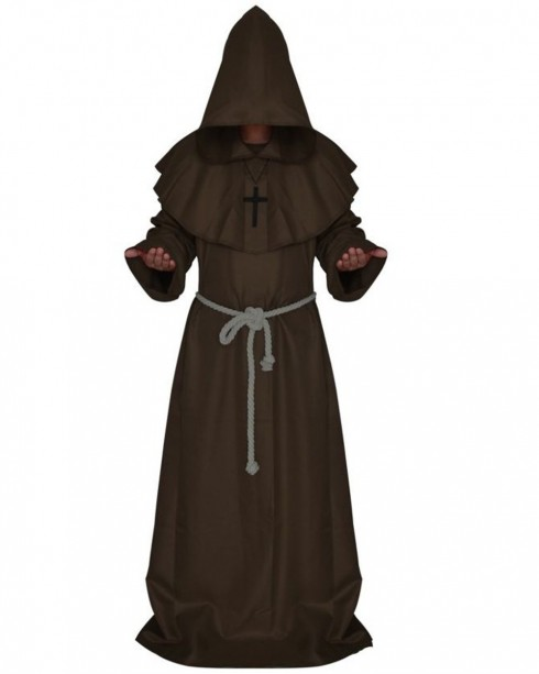 Brown Medieval Friar Hooded Robe Monk Cross Necklace Renaissance Costume Cosplay Mans Halloween