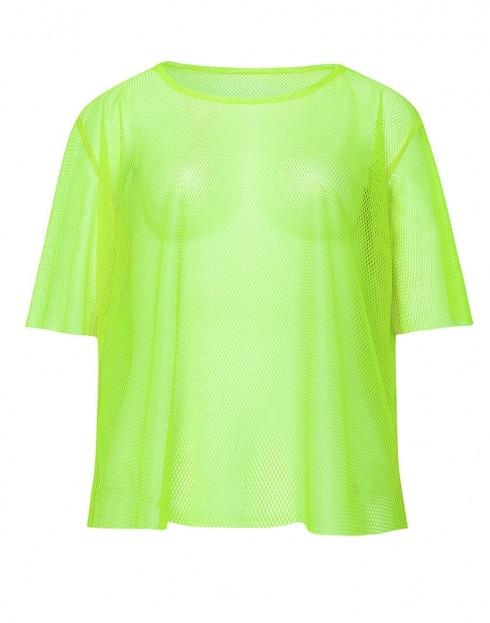 Green String Vest Mash Top Net Neon Punk Rocker Fishnet Rockstar Dance 80s 1980s Costume Accessory