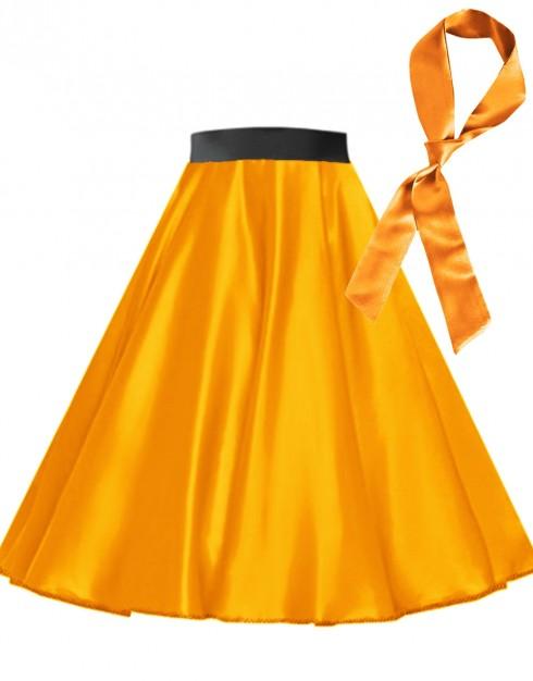 Orange Satin 1950's 50s skirt