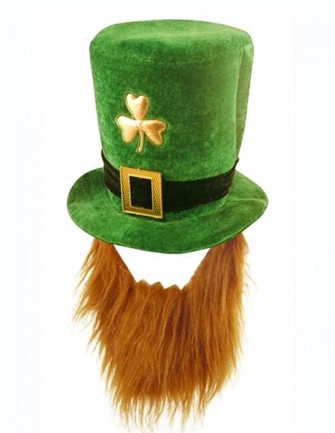 PLUSH LEPRECHAUN HAT WITH BEARD ST PATRICKS DAY NOVELTY irish green COSTUME ACCESSORY