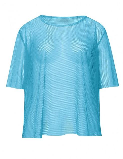 Blue String Vest Mash Top Net Neon Punk Rocker Fishnet Rockstar Dance 80s 1980s Costume Accessory