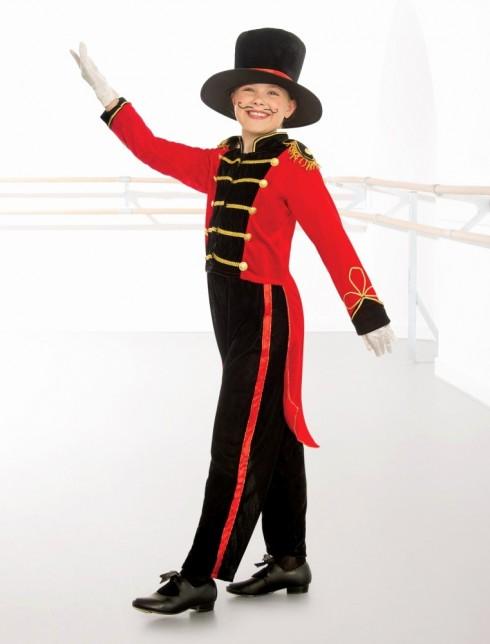 Kids Ringmaster Costume Circus Showman Lion Tamer Top Tails Pants Hat