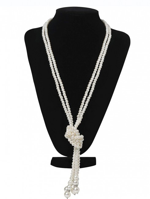 1920s 20 Faux Pearls Flapper Beads Cluster Long Necklace