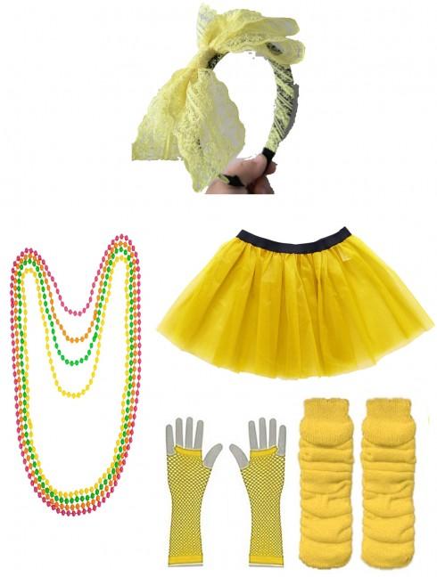 Yellow 80s accessory set