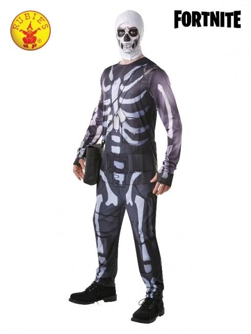Mens Adult Fortnite Skull Trooper Skeleton Computer Gaming Costume
