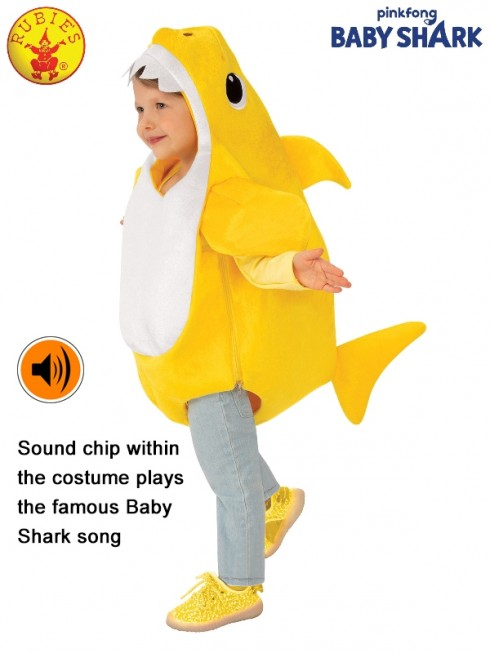 KIDS BABY SHARK DELUXE YELLOW COSTUME
