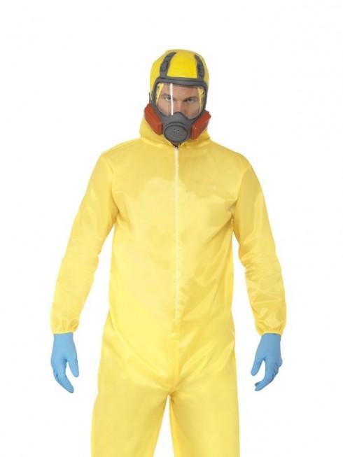 Adult Breaking Bad Hazmat Suit Walter Hazard Chemical Dress Up Men Costume Mask