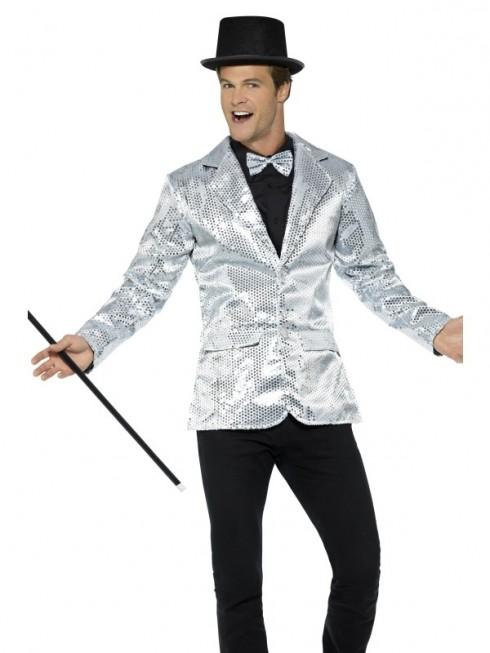 Mens Tuxedo Suit Gentleman Sequin Jacket Silver Charleston 40s Dance Coats Blazers Costume