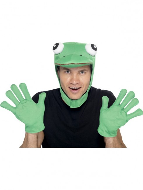 Adult Mens Frog Kit Animal Green with Hood and Gloves Smiffys Fancy Dress Costume Accessories