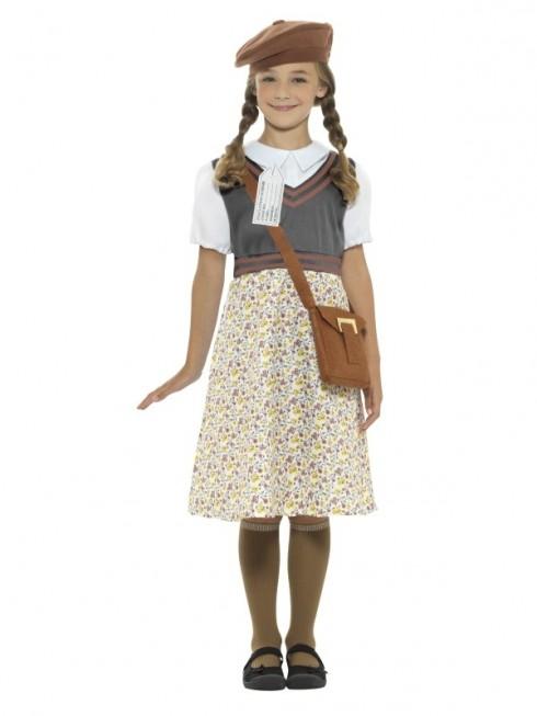 Girls War Time 40s WW2 School Girl Evacuee Fancy Dress Costume World Book Kids Party