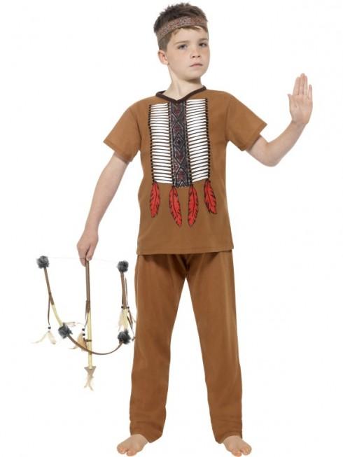 Kids Native Western Warrior Costume Cowboy American Wild West Indian Fancy Dress