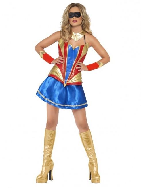 Fever Hero Hottie Wonderwoman Woman Dress Super Bodice Fancy Dress Super Costume