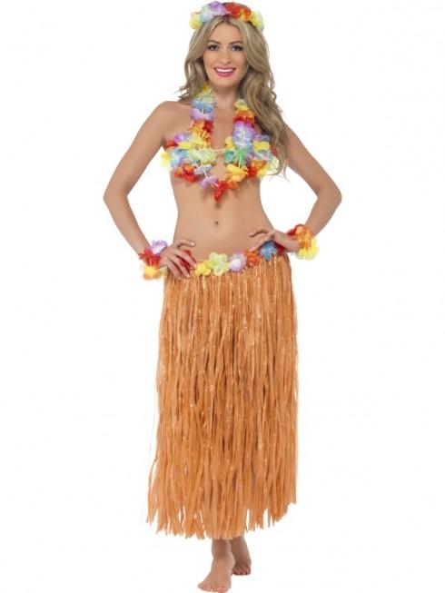Adults Hula Honey Instant Kit Hawaiian 5pc Fancy Dress Grass Skirt Luau Outfit Smiffys Fancy Dress Costume Outfit Accessories