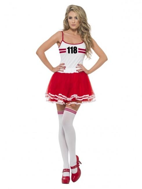 Ladies Red & white Marathon Woman Instant Costume