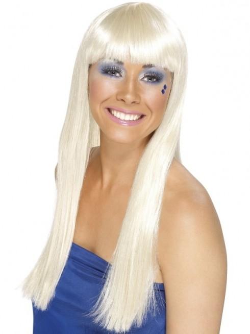 Costume Accessory Womens Ladies Abba 60's 70's 70s Disco Dancing Queen Blonde Super Trooper Long Wig