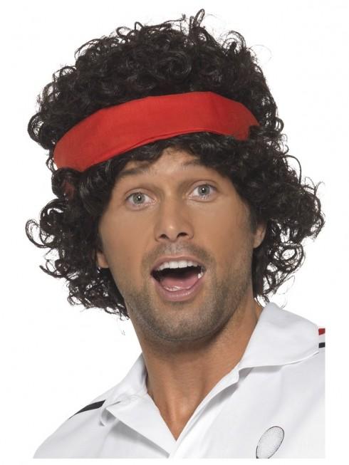 Mens 80s Eigthies Tennis Player Wig Brown Headband Athletes Headband Fancy Dress Costume Accessory