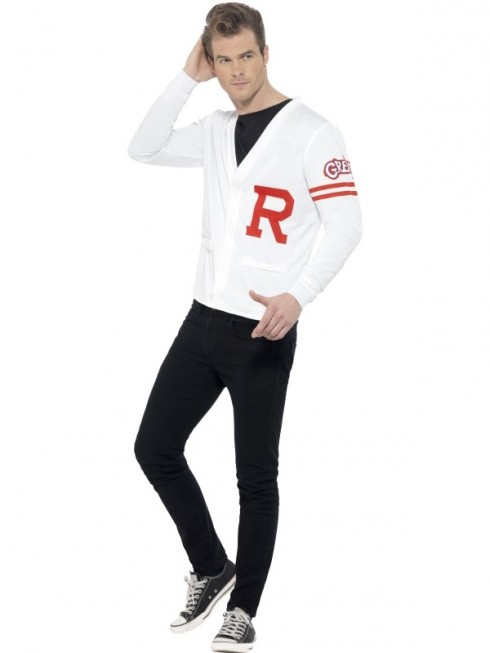 Mens Rydell Prep Costume Adults 1950s Grease Fancy Dress School Jock 50s Jumper