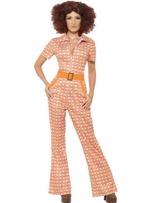 70s 1970s Authentic Chic Retro Jumpsuit Hippie Tragic Disco Retro Fancy Dress Costume